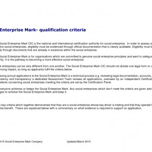 thumbnail of Social Enterprise Mark Criteria Mar2015